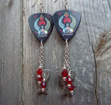 Winged Pin Up Girl with Red Swarovski Crystal and Wing Charm Dangles
