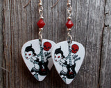 Red and Black Rocker Girl Guitar Pick Earrings with Red Swarovski Crystals