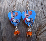 Pin Up Girl with Jack o Lantern Guitar Pick Earrings with Orange Crystal Dangles