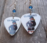 U.S. Air Force Pin Up Girl Guitar Pick Earrings with Capri Blue Crystals