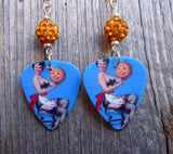 Pin Up Girl with Jack o Lantern Guitar Pick Earrings with Orange Pave Beads