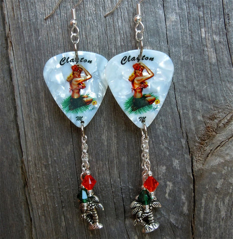 Blonde Hawaiian Pin Up Girl Guitar Pick Earrings with Charm and Swarovski Crystal Dangles