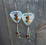 Brunette Hawaiian Pin Up Girl Guitar Pick Earrings with Charm and Swarovski Crystal Dangles