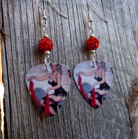 Classic Pin Up Women in Black Lingerie Guitar Pick Earrings with Red Pave Beads