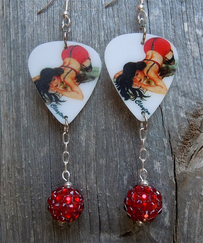 Brunette Pin Up Girl In Red and Black Lingerie Guitar Pick Earrings with Red Studded Rhinestone Dangles