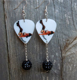 Tattooed Brunette Pin Up Girl Guitar Pick Earrings with Black Rhinestone Dangles