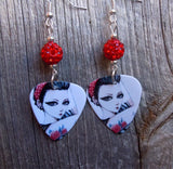 Rose Tattooed Girl Guitar Pick Earrings with Red Pave Beads
