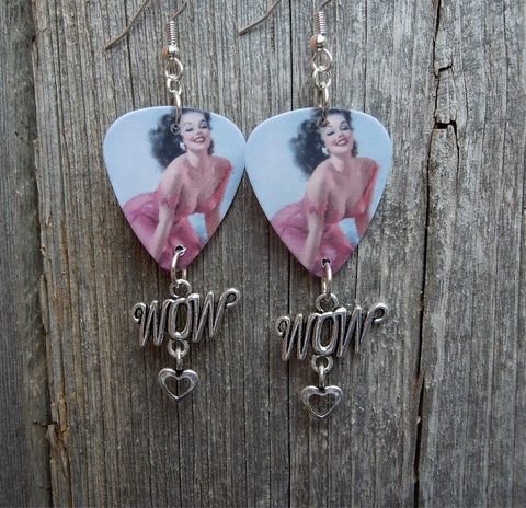 Classic Pin Up Girl in Pink Dress Guitar Pick Earrings with Wow Charm