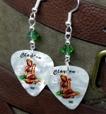 Blonde Hawaiian Pin Up Girl Guitar Pick Earrings with Emerald Green Swarovski Crystals
