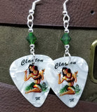 Hawaiian Pin Up Girl with a Cocktail Guitar Pick Earrings with Green Swarovski Crystals