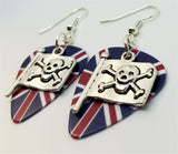 Skull and Crossbones Pirate Flag Charm Guitar Pick Earrings - Pick Your Color