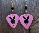 Playboy Bunny Guitar Pick Earrings with Black Swarovski Crystals