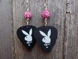 Black and White Playboy Guitar Pick Earrings with Pink Pave Beads