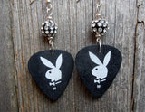 Black and White Playboy Guitar Pick Earrings with Pave Beads