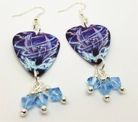 Pokemon Lugia Guitar Pick Earrings with Blue Swarovski Crystal Dangles