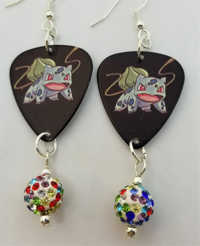 Pokemon Bulbasaur Guitar Pick Earrings with MultiColor Pave Bead Dangles