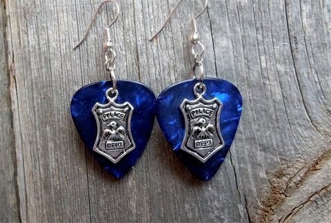 Police Shield Charm Guitar Pick Earrings - Pick Your Color