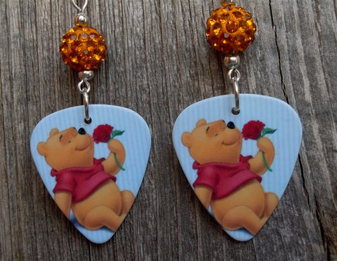 Winnie the Pooh Guitar Pick Earrings with Orange Pave Beads