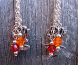 Winnie the Pooh Guitar Pick Earrings with Silver Rose Charm and Swarovski Crystal Dangles