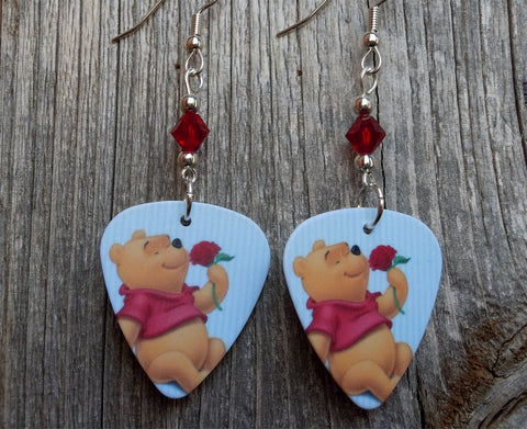 Winnie the Pooh Guitar Pick Earrings with Red Swarovski Crystals