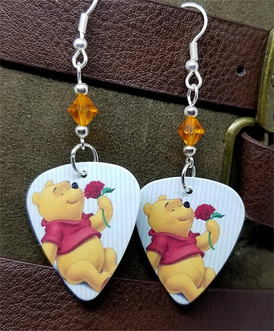 Winnie the Pooh Guitar Pick Earrings with Orange Swarovski Crystals