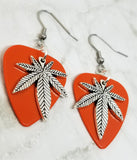Marijuana Leaf Charm Guitar Pick Earrings - Pick Your Color