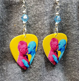 Pride Love Man Guitar Pick Earrings with Blue Swarovski Crystals
