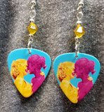 Pride Love Woman Guitar Pick Earrings with Yellow Swarovski Crystals