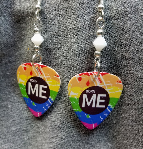 Born Me Rainbow Pride Guitar Pick Earrings with White Swarovski Crystals