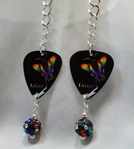 Pride Rainbow Butterfly Dangling Guitar Pick Earrings with MultiColor Pave Bead Dangle