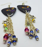 Pride Rainbow Butterfly Dangling Guitar Pick Earrings with Dangles