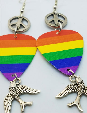 Pride Rainbow Guitar Pick Earrings with Peace Signs and Sparrows