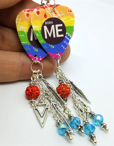 Born Me Rainbow Pride Guitar Pick Earrings with Dangles