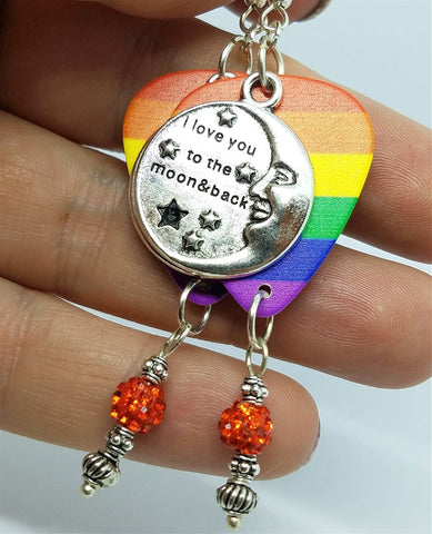 I Love You To The Moon And Back Pride Rainbow Guitar Pick Earrings with Orange Pave Dangles