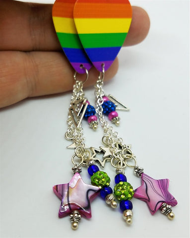 Pride Rainbow Guitar Pick Earrings with Star Charms, Seed Bead, and Pave Bead Dangles