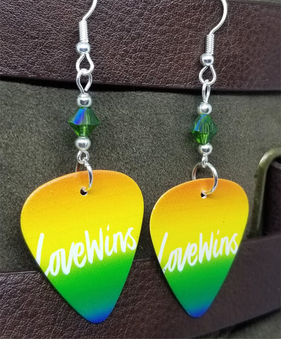 Love Wins Pride Guitar Pick Earrings with Green AB Swarovski Crystals