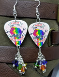 Fight For Your Right Pride Rainbow on a Chained Fish Guitar Pick Earrings with Swarovski Crystal Dangles
