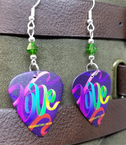 Love Ribbon Pride Guitar Pick Earrings with Green AB Swarovski Crystals