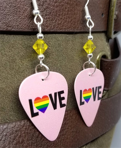 Love Pride Flag Heart Guitar Pick Earrings with Yellow Swarovski Crystals