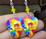 Love is Love Pride Guitar Pick Earrings with Yellow Opal Swarovski Crystals