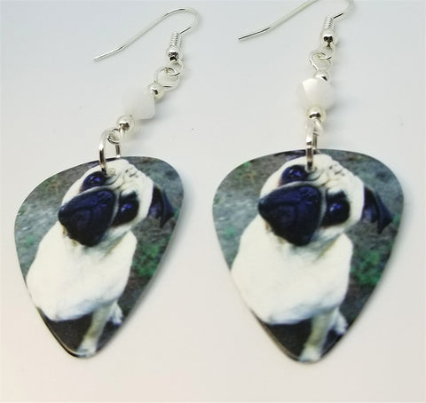 Pug Guitar Pick Earrings with White Swarovski Crystals