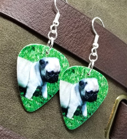 Adorable Pug Puppy Guitar Pick Earrings