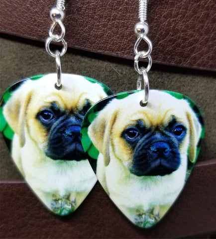 Pug Puppy Guitar Pick Earrings