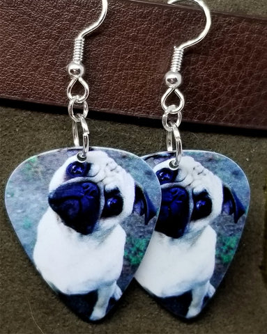 Pug Guitar Pick Earrings
