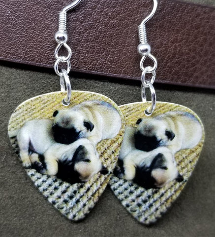 Adorable Pug Puppies Guitar Pick Earrings