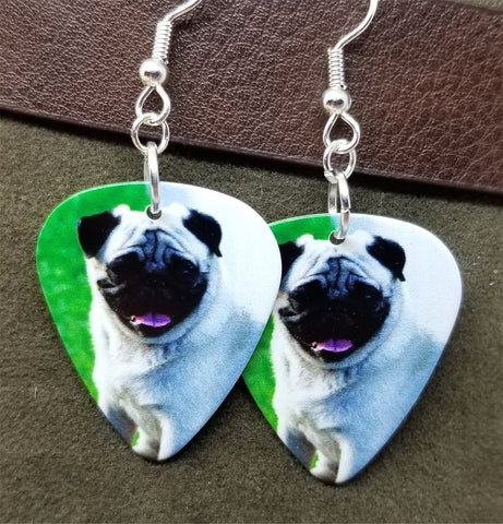 Pug Guitar Pick Earrings with Surgical Steel Earwires