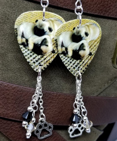 Adorable Pug Puppies Guitar Pick Earrings with Paw Print Charm and Swarovski Crystal Dangles