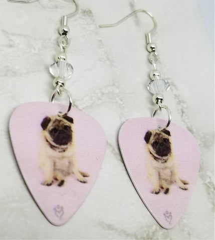 Pug Dogs Guitar Pick Earrings with Clear Swarovski Crystals