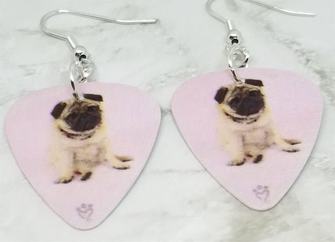 Pug Dog Guitar Pick Earrings