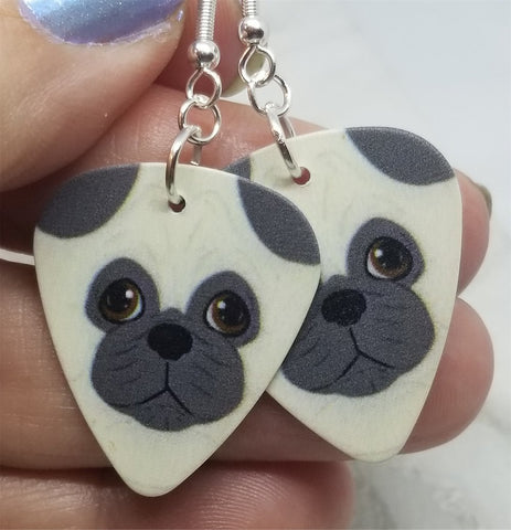 Cartoon Pug Guitar Pick Earrings